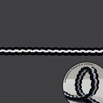 PASSAMANARIA TRANÇADO DUPLA FACE 1,6cm PRETO/BRANCO