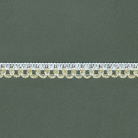 RENDA PICOT LAME 1,1cm BRANCO/OURO